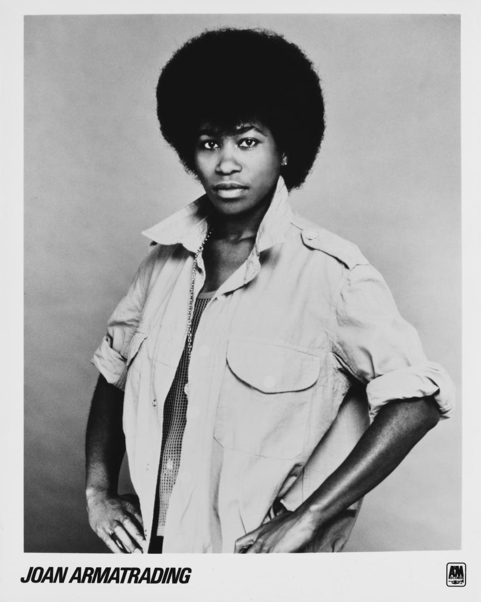 Joan Armatrading's publicity shot, name intact, from 1975. (Photo: Gems/Redferns/Getty Images)