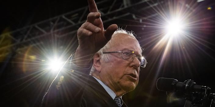 Sen. Bernie Sanders, I-Vt., 2020 Democratic Presidential Candidate, gives a victory speech after winning New Hampshire Primary during Primary Night Celebration at SNHU Field House on Tuesday, February 11, 2020 in Manchester, New Hampshire.