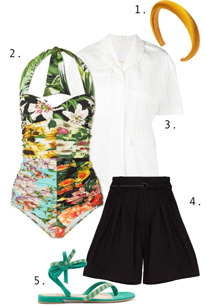 """<p>When going for a look with an air of <em>dolce far niente</em>, the luxury is in the effortlessness. Let your patterned one piece do the talking. Simply add airy shorts and linen button down, and keep the accessories simple with a bright pair of sandals. Add a headband if you're looking for an unexpected twist.</p><ol><li><a href=""""https://go.skimresources.com?id=74968X1525087&xs=1&url=https%3A%2F%2Fwww.jenniferbehr.com%2Fcollections%2Fheadbands%2Fproducts%2Ftori-headband-in-hammered-silk%3Fvariant%3DSaffron"""" rel=""""nofollow noopener"""" target=""""_blank"""" data-ylk=""""slk:Jennifer Behr headband"""" class=""""link rapid-noclick-resp"""">Jennifer Behr headband</a> 2. <a href=""""https://go.skimresources.com?id=74968X1525087&xs=1&url=https%3A%2F%2Fwww.net-a-porter.com%2Fen-us%2Fshop%2Fproduct%2Fdolce-gabbana%2Fclothing%2Fone-piece%2Fruched-patchwork-floral-print-halterneck-swimsuit%2F2204324138972836"""" rel=""""nofollow noopener"""" target=""""_blank"""" data-ylk=""""slk:Dolce & Gabbana swim"""" class=""""link rapid-noclick-resp"""">Dolce & Gabbana swim</a> 3. <a href=""""https://go.skimresources.com?id=74968X1525087&xs=1&url=https%3A%2F%2Fwww.brownsfashion.com%2Fshopping%2Fremain-liane-short-sleeve-shirt-16156207"""" rel=""""nofollow noopener"""" target=""""_blank"""" data-ylk=""""slk:Remain shirt"""" class=""""link rapid-noclick-resp"""">Remain shirt</a> 4. <a href=""""https://go.skimresources.com?id=74968X1525087&xs=1&url=https%3A%2F%2Fwww.farfetch.com%2Fshopping%2Fwomen%2Fbrunello-cucinelli-high-waist-belted-shorts-item-16076231.aspx%3Fstoreid%3D9359"""" rel=""""nofollow noopener"""" target=""""_blank"""" data-ylk=""""slk:Brunello Cucinelli shorts"""" class=""""link rapid-noclick-resp"""">Brunello Cucinelli shorts</a> 5. <a href=""""https://go.skimresources.com?id=74968X1525087&xs=1&url=https%3A%2F%2Fwww.matchesfashion.com%2Fus%2Fproducts%2FGianvito-Rossi-Beaded-suede-sandals-1408519"""" rel=""""nofollow noopener"""" target=""""_blank"""" data-ylk=""""slk:Gianvito Rossi sandals"""" class=""""link rapid-noclick-resp"""">Gianvito Rossi sandals</a></li></ol>"""