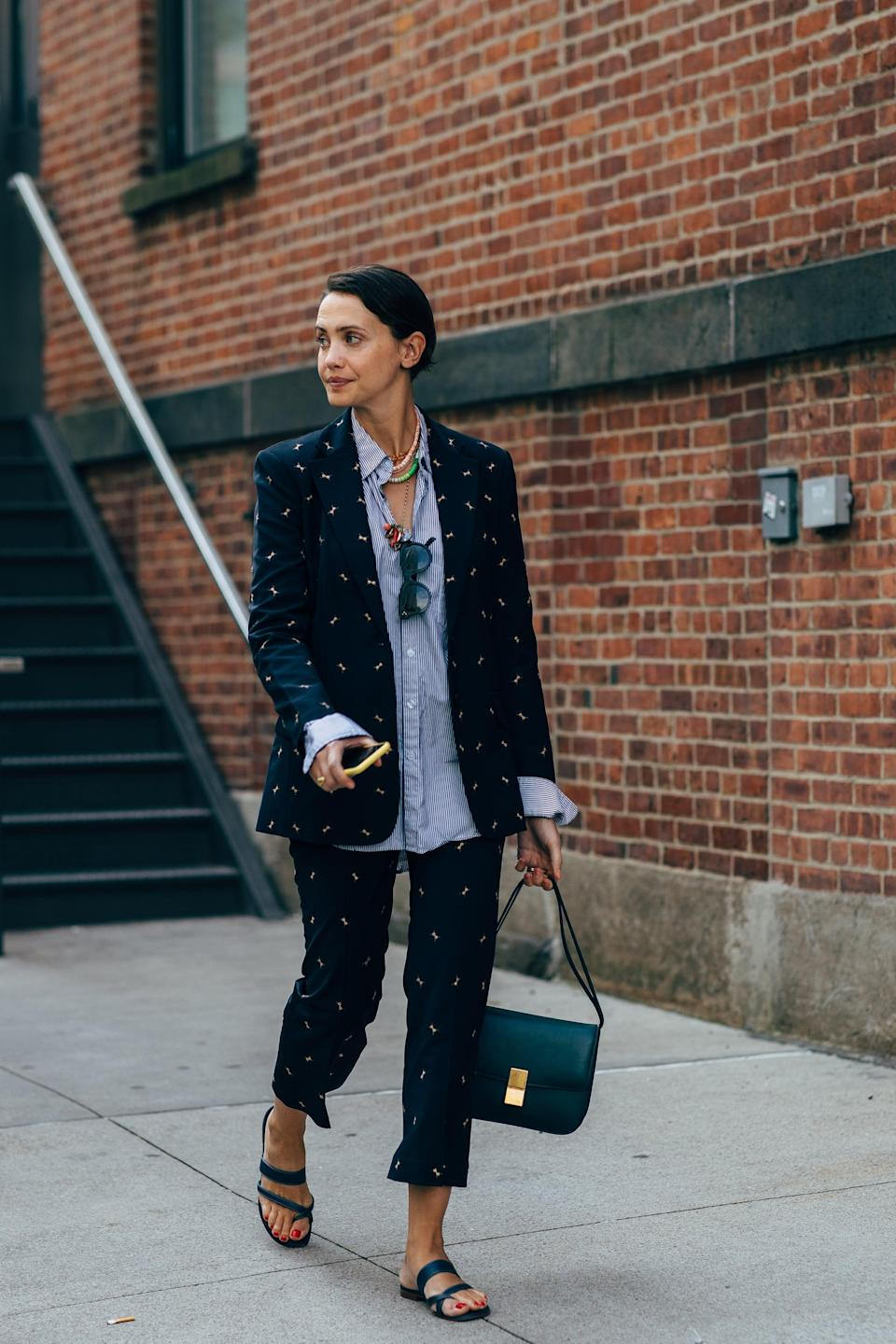 <p>Dress down a suit with slides all summer.</p>