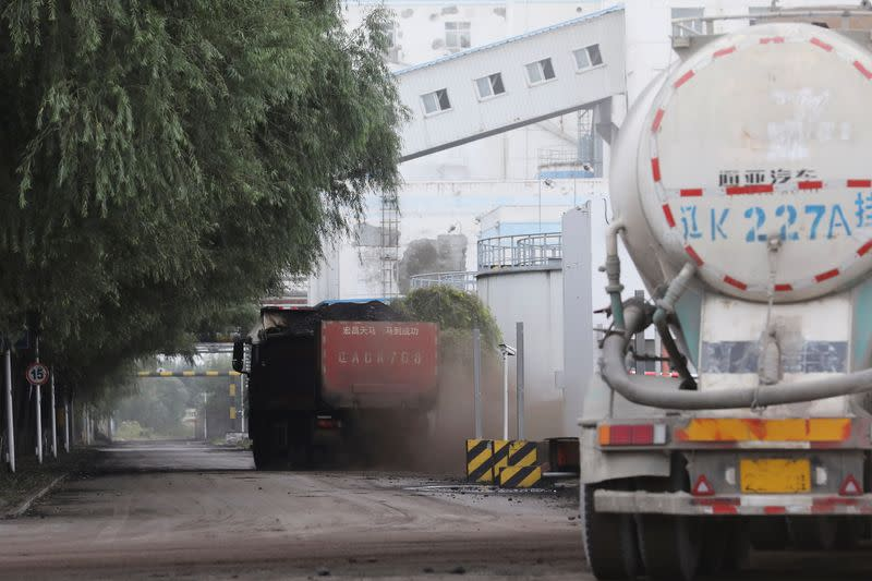 Truck transports coal at a coal-fired power plant in Shenyang