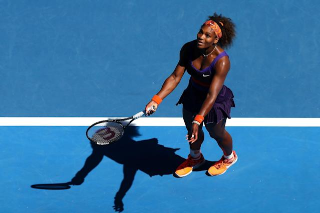MELBOURNE, AUSTRALIA - JANUARY 23: Serena Williams of the United States of America reacts after a point in her Quarterfinal match against Sloane Stephens of the United States of America during day ten of the 2013 Australian Open at Melbourne Park on January 23, 2013 in Melbourne, Australia. (Photo by Ryan Pierse/Getty Images)