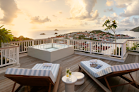 """<p>Where beach and chic collide, this stylish boutique hotel on a bluff in St. Barts blends French charm with Caribbean flair. For the couple whose idea of celebrating love is all about elegance, Le Carl Gustaf does not disappoint. Its 21 luxurious rooms, suites, and bungalows feature terraced ocean vistas. Should you really want to amp up the amour, the resort offers a special romance package with everything from breakfast in bed to a couples' massage at the spa—not to be outdone by a sunset photo shoot on the beach.<br></p><p><a class=""""link rapid-noclick-resp"""" href=""""https://www.hotelsbarriere.com/en/saint-barth/le-carl-gustaf.html"""" rel=""""nofollow noopener"""" target=""""_blank"""" data-ylk=""""slk:Book"""">Book</a></p>"""