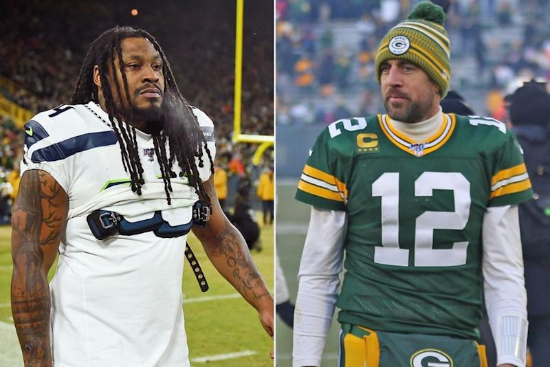 Marshawn Lynch and Aaron Rodgers | Stacy Revere/Getty; y Larry Radloff/Icon Sportswire via Getty