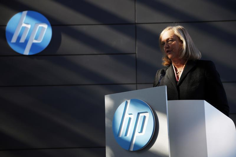 Meg Whitman, chief executive officer and president of Hewlett-Packard, speaks during the grand opening of the company's Executive Briefing Center in Palo Alto