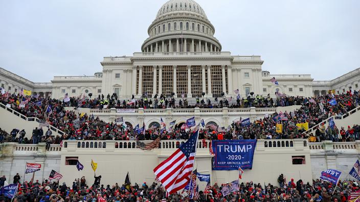 US President Donald Trumps supporters gather outside the Capitol building in Washington D.C., United States on January 06, 2021. (Tayfun Coskun/Anadolu Agency via Getty Images)