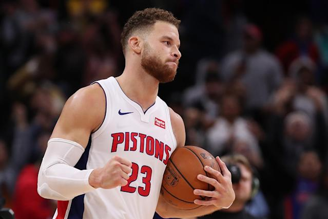 Blake Griffin's final three points pushed the Pistons past the 76ers and secured a new career high. (Getty)