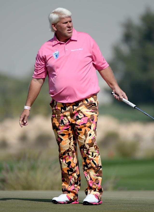 DOHA, QATAR - JANUARY 23: John Daly of the USA in action during the second round of the Comercial Bank Qatar Masters at the Doha Golf Club on January 23, 2014 in Doha, Qatar. (Photo by Ross Kinnaird/Getty Images)