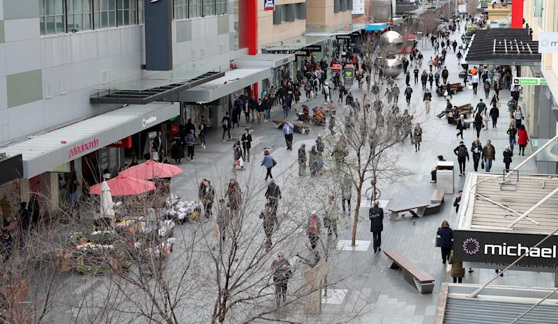 Pedestrians are seen in Rundle Mall in Adelaide.