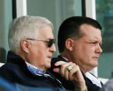 "FILE - In this March 11, 2008, file photo, New York Yankees principal owner George Steinbrenner, left, and his son, Yankees general partner Hank Steinbrenner, watch the Yankees play the Toronto Blue Jays in a spring baseball game at Legends Field in Tampa, Fla. Henry ""Hank"" Steinbrenner died Tuesday, April 14, 2020, at his home in Clearwater, Fla. He was 63. (AP Photo/Kathy Willens, File)"