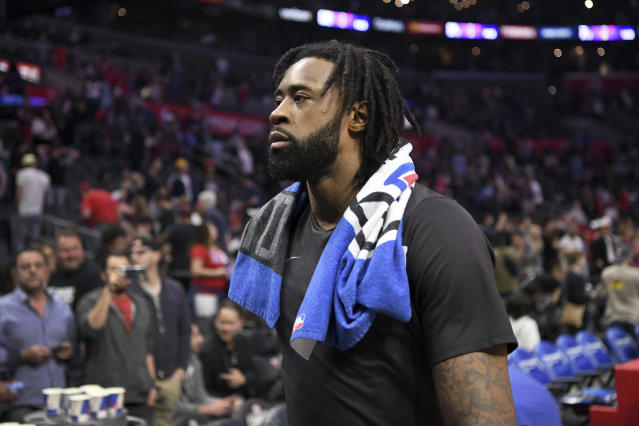 "The Mavericks are reportedly interested in trading for <a class=""link rapid-noclick-resp"" href=""/nba/players/4497/"" data-ylk=""slk:DeAndre Jordan"">DeAndre Jordan</a>, three years after the center backed out fo a verbal free-agent agreement to sign in Dallas. (AP)"