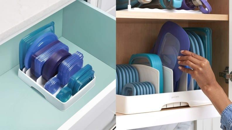 Conveniently store container lids in one place.