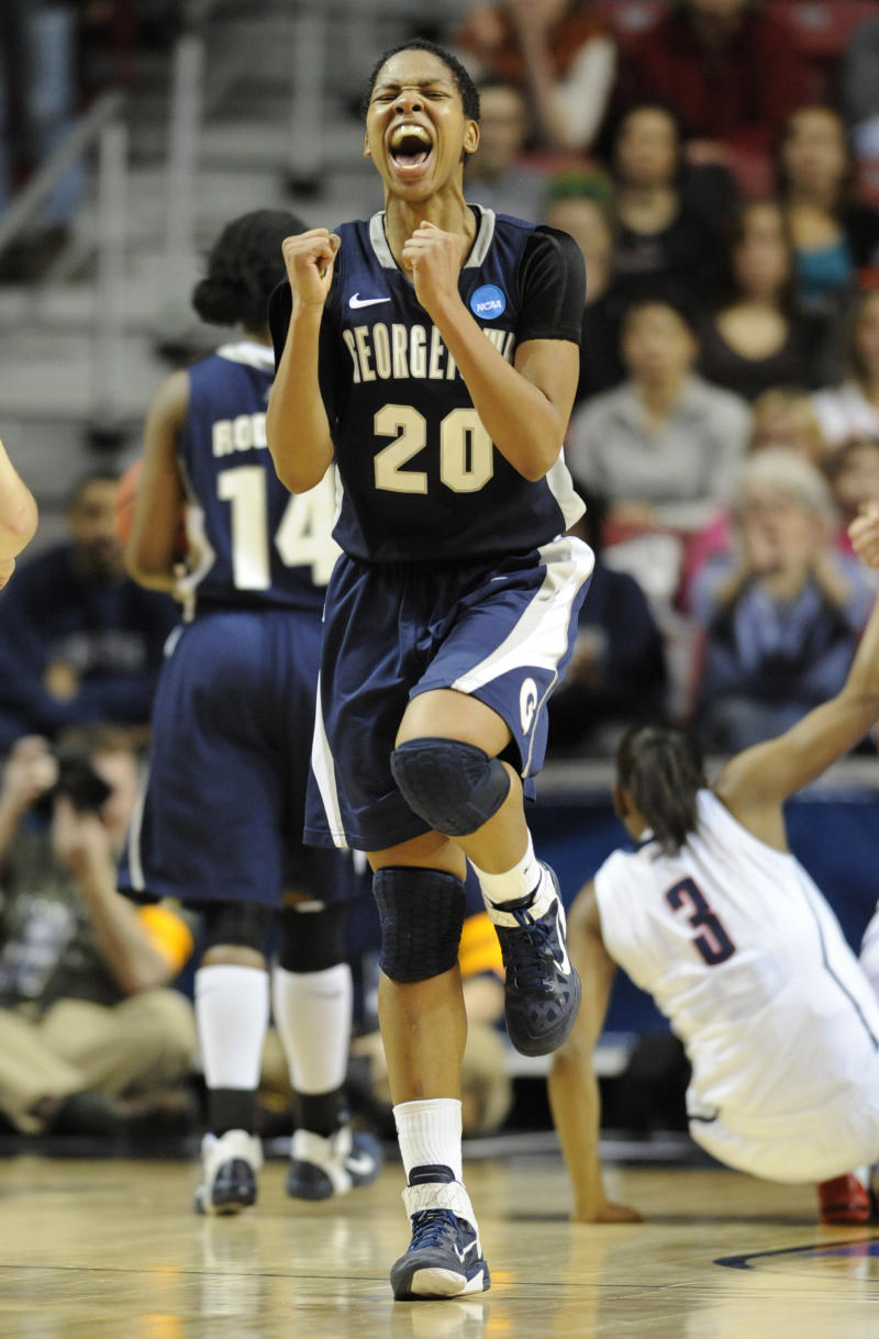 Georgetown's guard Monica McNutt reacts during the first half against Connecticut in the first half of an NCAA women's college basketball tournament regional semifinal, Sunday, March 27, 2011, in Philadelphia. (AP Photo/Barbara Johnston)