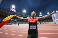 Harting was trying to celebrate his golden throw. (Photo by Alexander Hassenstein/Getty Images)