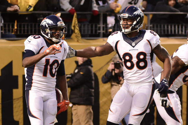 "<a class=""link rapid-noclick-resp"" href=""/nfl/players/24057/"" data-ylk=""slk:Emmanuel Sanders"">Emmanuel Sanders</a> and Demaryius Thomas are back for yet another season, and the team upgraded at QB. (AP Photo/Fred Vuich, File)"