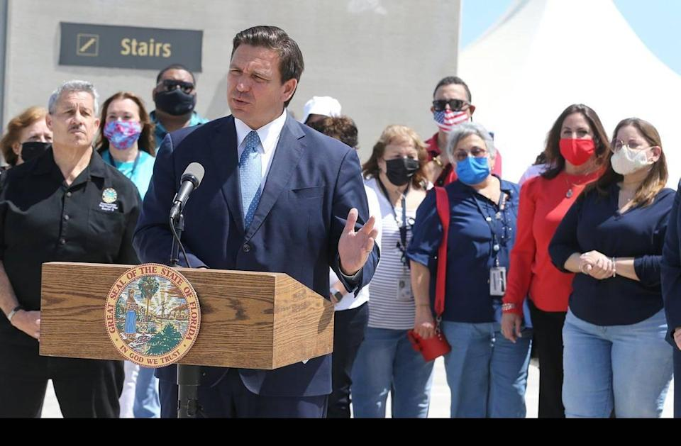 Florida Ron DeSantis holds a press conference to announce a lawsuit against the CDC to try to get cruising restarted at PortMiami in Miami, Florida, Thursday, April 8, 2021.