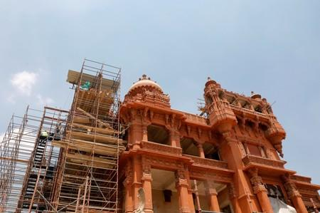 """A general view shows the restoration work at the Baron Empain Palace, """"Qasr el Baron"""" or The Hindu Palace, built in the 20th century by a Belgian industrialist Edouard Louis Joseph, also known as Baron Empain, in the Cairo's suburb Heliopolis"""