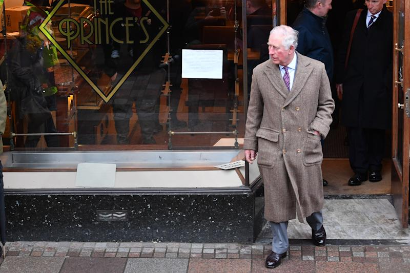 The Prince of Wales during a visit to Pontypridd, Wales, which has suffered from severe flooding in the wake of Storm Dennis. PA Photo. Picture date: Friday February 21, 2020. See PA story ROYAL Charles. Photo credit should read: Jacob King/PA Wire