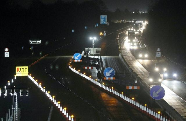 Traffic on the M20 near Ashford in Kent