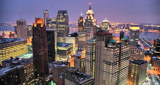 The skyline of the city of Detroit from up high, sunset.