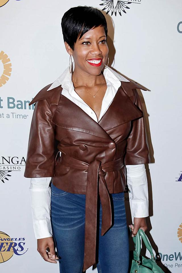 """Southland"" star Regina King sported a cropped leather jacket paired with a white shirt and mom jeans. Do you think her look is hot ... or not? Tibrina Hobson/<a href=""http://www.wireimage.com"" target=""new"">WireImage.com</a> - April 3, 2011"