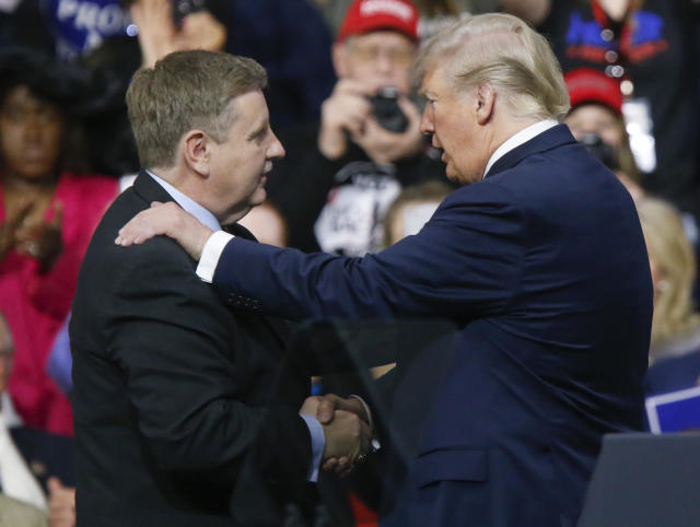 President Trump, right, with Republican Rick Saccone during a campaign rally on March 10, 2018, in Moon Township, Pa. (Photo: Keith Srakocic/AP)