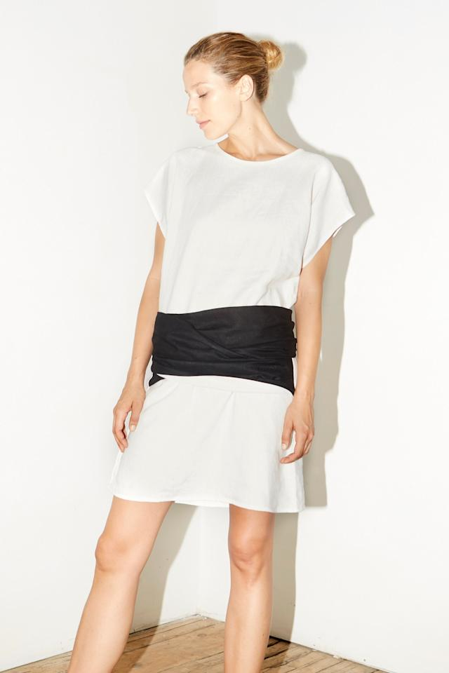 "Datura White & Black Linen Knot Dress, $185; at <a rel=""nofollow"" href=""http://www.datura.com/dresses-jumpsuits/whiteblack-linen-knot-dress"">Datura</a>"