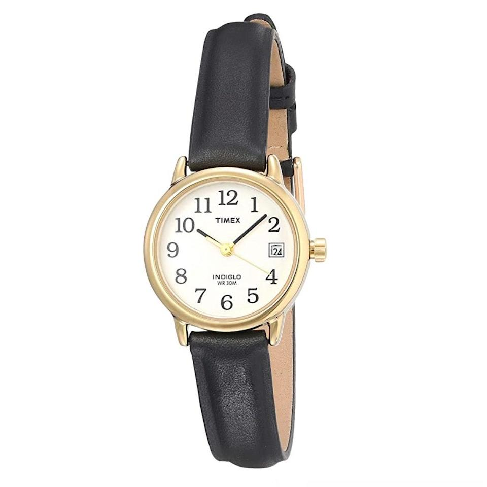 """At less than $50 when full price, you really can't go wrong with this understated black and gold piece. $47, Amazon. <a href=""""https://www.amazon.com/Timex-T2H331-Indiglo-Leather-Silver-Tone/dp/B000AYTYK8/ref=sr_1_25"""" rel=""""nofollow noopener"""" target=""""_blank"""" data-ylk=""""slk:Get it now!"""" class=""""link rapid-noclick-resp"""">Get it now!</a>"""