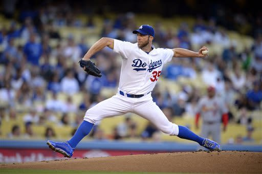 Los Angeles Dodgers starting pitcher Chris Capuano throws to the plate during the first inning of their baseball game against the St. Louis Cardinals, Friday, May 24, 2013, in Los Angeles. (AP Photo/Mark J. Terrill)