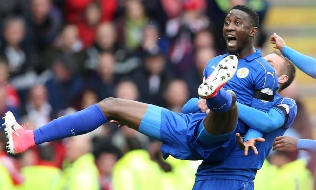 "<span class=""element-image__caption"">Wilfred Ndidi is hoisted aloft after his thunderbolt.</span> <span class=""element-image__credit"">Photograph: Plumb Images/Leicester City FC via Getty Images</span>"