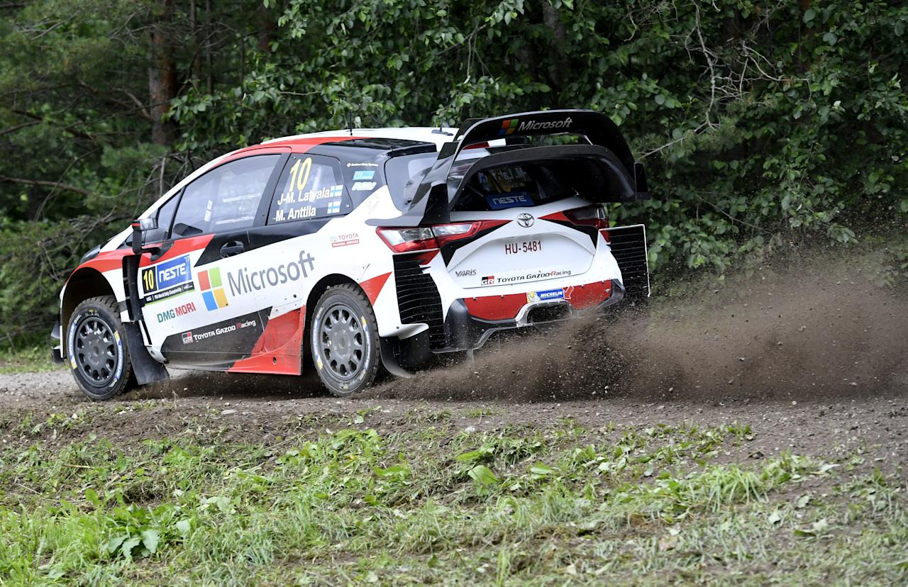 Jari-Matti Latvala of Finland and his co-driver Miikka Anttila of Finland steer their Toyota Yaris WRC during stage Pihlajakoski of the Neste Rally Finland in Kuhmoinen, Finland July 29, 2017. Lehtikuva/Heikki Saukkomaa via REUTERS     ATTENTION EDITORS - THIS IMAGE WAS PROVIDED BY A THIRD PARTY. NO THIRD PARTY SALES. NOT FOR USE BY REUTERS THIRD PARTY DISTRIBUTORS. FINLAND OUT. NO COMMERCIAL OR EDITORIAL SALES IN FINLAND.