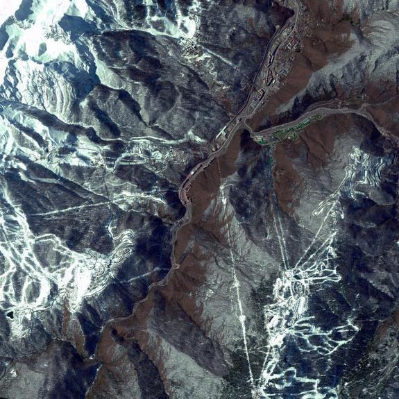 This DigitalGlobe satellite image shows Sochi, Russia, home of the 2014 Winter Olympic Games, as it appeared from space on March 17, 2013.