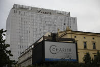 A view of the central building of the Charite hospital where the Russian opposition leader Alexei Navalny is being treated, in Berlin, Germany, Wednesday, Sept. 2, 2020. Russian opposition leader Alexei Navalny was the victim of an attack and poisoned with the Soviet-era nerve agent Novichok, the German government said Wednesday, Sept. 2, 2020 citing new test results. (AP Photo/Markus Schreiber)