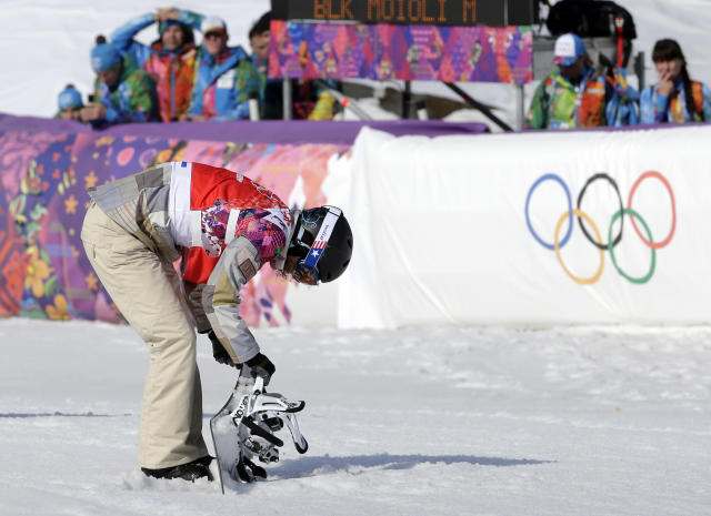 Lindsey Jacobellis of the United States reacts after crashing in the second semifinal of the women's snowboard cross at the Rosa Khutor Extreme Park, at the 2014 Winter Olympics, Sunday, Feb. 16, 2014, in Krasnaya Polyana, Russia. (AP Photo/Andy Wong)