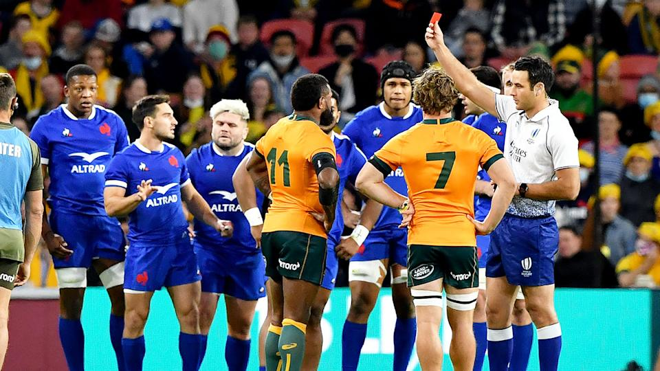 Pictured here, Wallabies winger Marika Koroibete is shown a red card for a high tackle.