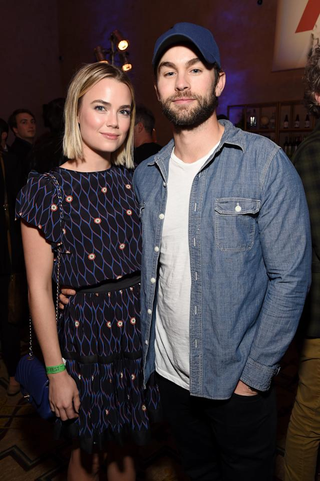 "<p>The couple met on the set of 2015's <strong>Blood &amp; Oil</strong>, where they played young couple Billy and Cody LeFever. They kept things low-key <a href=""https://www.usmagazine.com/celebrity-news/news/gossip-girls-chace-crawford-and-rebecca-rittenhouse-split/"" target=""_blank"" class=""ga-track"" data-ga-category=""internal click"" data-ga-label=""https://www.usmagazine.com/celebrity-news/news/gossip-girls-chace-crawford-and-rebecca-rittenhouse-split/"" data-ga-action=""body text link"">throughout their three-year romance</a> before breaking up in 2018. It seems they parted amicably, as they were seen <a href=""http://www.justjared.com/2020/03/25/chace-crawford-ex-girlfriend-rebecca-rittenhouse-meet-up-for-afternoon-stroll/"" target=""_blank"" class=""ga-track"" data-ga-category=""internal click"" data-ga-label=""http://www.justjared.com/2020/03/25/chace-crawford-ex-girlfriend-rebecca-rittenhouse-meet-up-for-afternoon-stroll/"" data-ga-action=""body text link"">walking Chace's dog Shiner together</a> in March 2020. </p>"