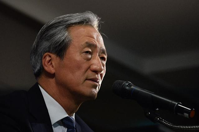FIFA presidential hopeful Chung Mong-Joon, speaking in Seoul (AFP Photo/Ed Jones)