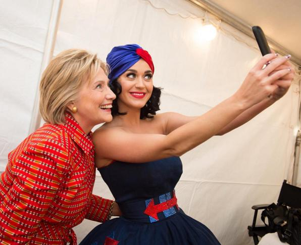"<p>After Katy Perry handed the Instagram reigns back to the potential Democratic nominee for president, Clinton posted this photo of the buds together and <a href=""https://instagram.com/p/9RBFnlEPji/?taken-by=hillaryclinton"">wrote in the caption</a>, ""Happy birthday, <a href=""https://instagram.com/katyperry/"">@katyperry</a>! 🎉"" <a href=""https://instagram.com/hillaryclinton/""><i>Photo: @hillaryclinton/Instagram</i></a></p>"
