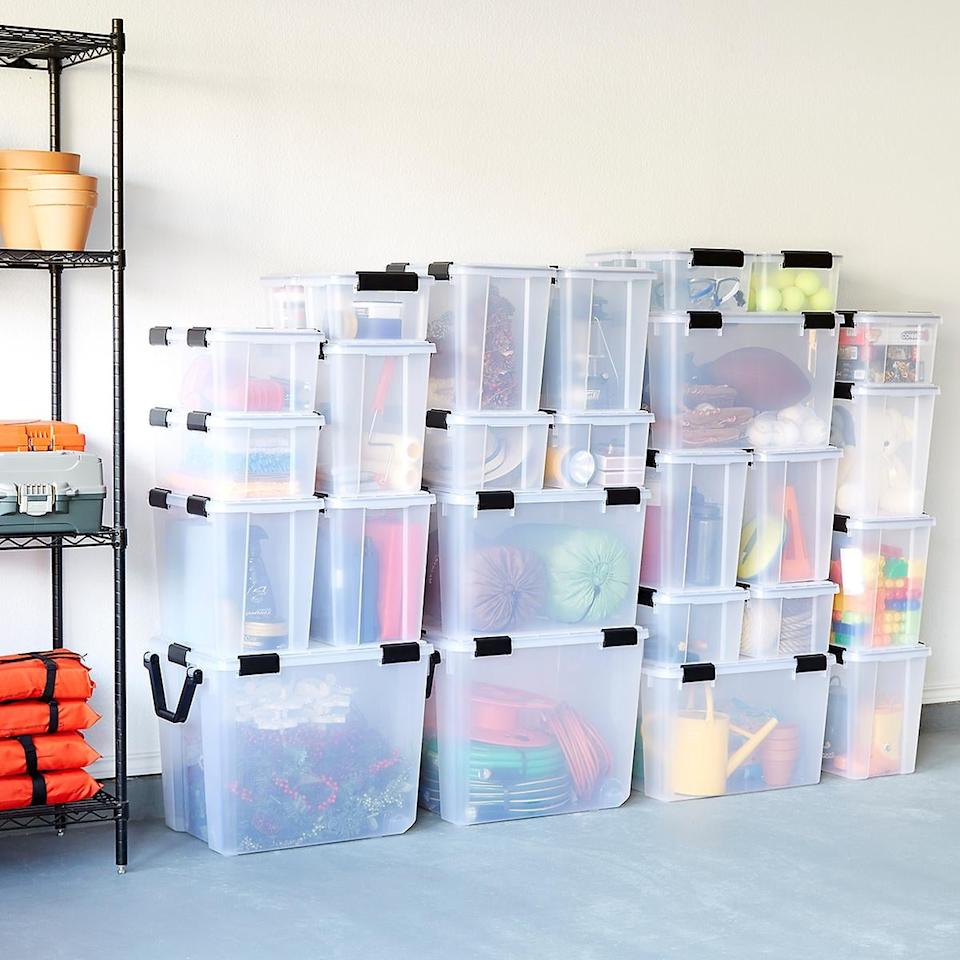 "<p>You can see through these <a href=""https://www.popsugar.com/buy/Clear-Weathertight-Totes-492084?p_name=Clear%20Weathertight%20Totes&retailer=containerstore.com&pid=492084&price=11&evar1=casa%3Aus&evar9=46634090&evar98=https%3A%2F%2Fwww.popsugar.com%2Fhome%2Fphoto-gallery%2F46634090%2Fimage%2F46636572%2FClear-Weathertight-Totes&list1=shopping%2Corganization%2Cgarage%2Chome%20organization%2Chome%20shopping&prop13=api&pdata=1"" rel=""nofollow"" data-shoppable-link=""1"" target=""_blank"" class=""ga-track"" data-ga-category=""Related"" data-ga-label=""https://www.containerstore.com/s/garage/storage-bags-boxes/clear-weathertight-totes/12d?productId=10026213"" data-ga-action=""In-Line Links"">Clear Weathertight Totes</a> ($11-$28), so you know exactly what's inside.</p>"
