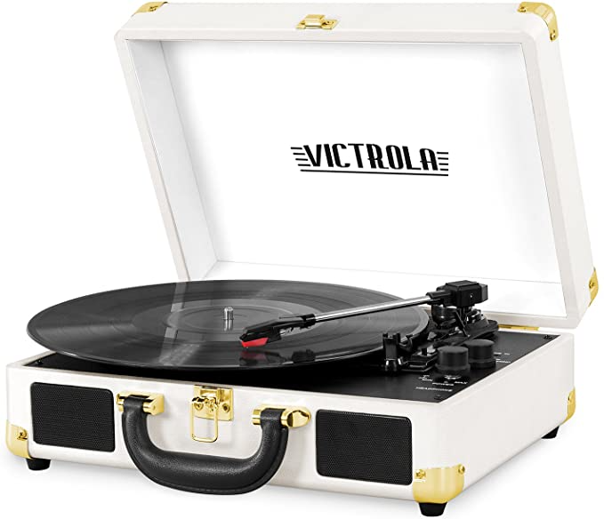 "<h3><a href=""https://amzn.to/3jzWOZC"" rel=""nofollow noopener"" target=""_blank"" data-ylk=""slk:Victrola Bluetooth Turntable"" class=""link rapid-noclick-resp"">Victrola Bluetooth Turntable</a> </h3><br>Not only can this adorable (and portable) turntable play vintage vinyl records, but it's also Bluetooth-enabled — so giftees can stream music straight from their mobile devices, too.<br><br><strong>Innovative Technology</strong> Vintage 3-Speed Bluetooth Turntable, $, available at <a href=""https://amzn.to/3jzWOZC"" rel=""nofollow noopener"" target=""_blank"" data-ylk=""slk:Amazon"" class=""link rapid-noclick-resp"">Amazon</a>"