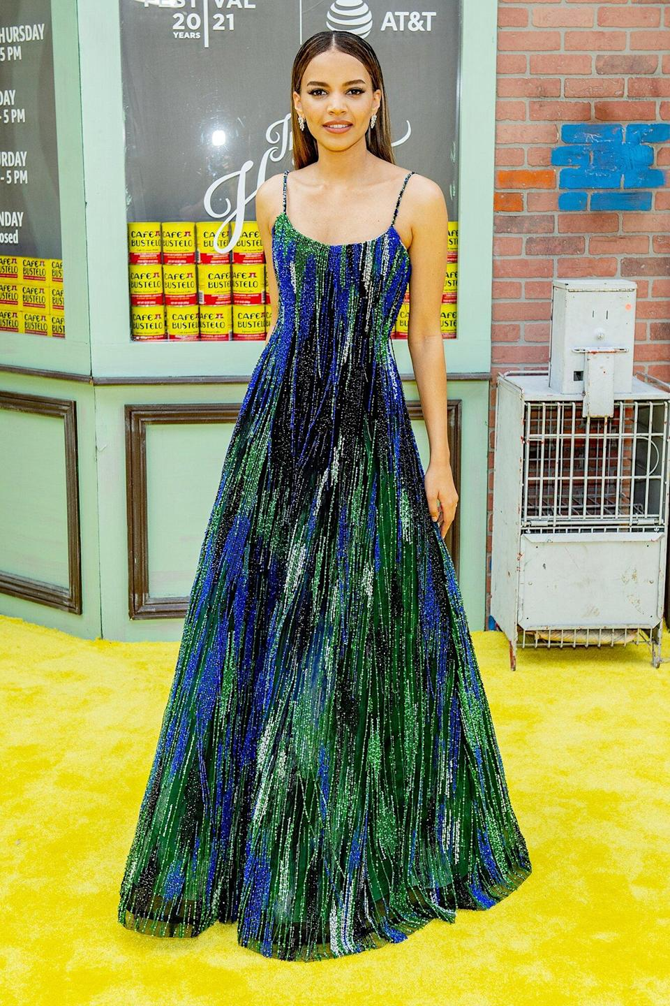 """Leslie Grace attends """"In The Heights"""" 2021 Tribeca Festival opening night premiere at United Palace Theater on June 09, 2021 in New York City"""