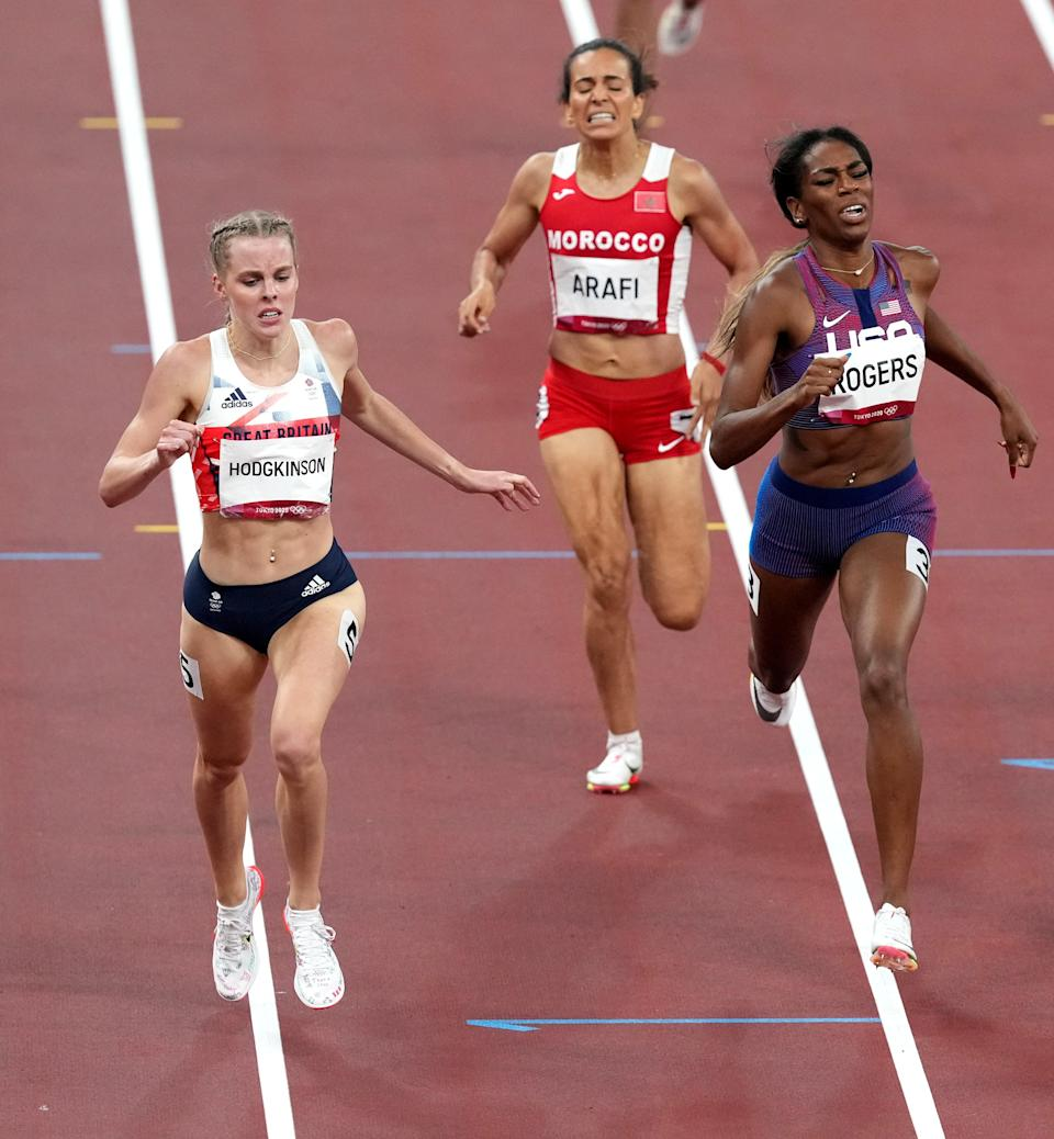Great Britain's Keely Hodgkinson, left, in action during the third semi-final of the Women's 800 metres (Martin Rickett/PA) (PA Wire)