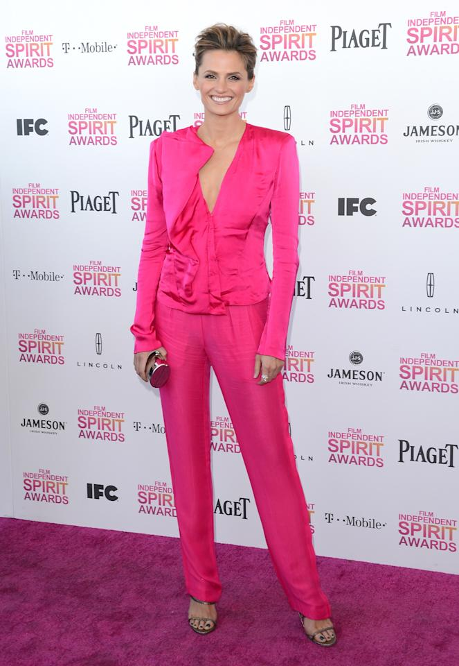 SANTA MONICA, CA - FEBRUARY 23:  Actress Stana Katic attends the 2013 Film Independent Spirit Awards at Santa Monica Beach on February 23, 2013 in Santa Monica, California.  (Photo by Jason Merritt/Getty Images)