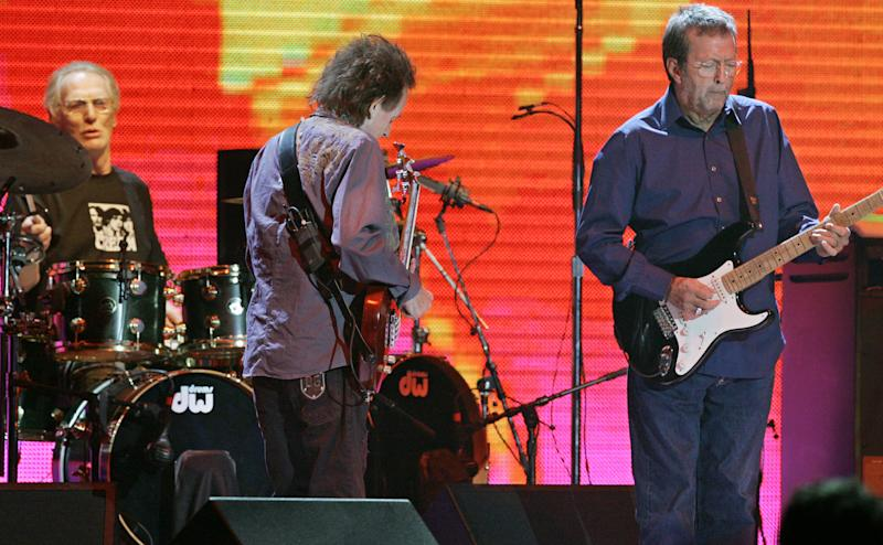 Cream, featuring drummer Ginger Baker, bassist Jack Bruce and guitarist Eric Clapton perform Oct. 24, 2005, at Madison Square Garden in New York. It was the band's first United States performance since their 1993 induction into the Rock and Roll Hall of Fame.