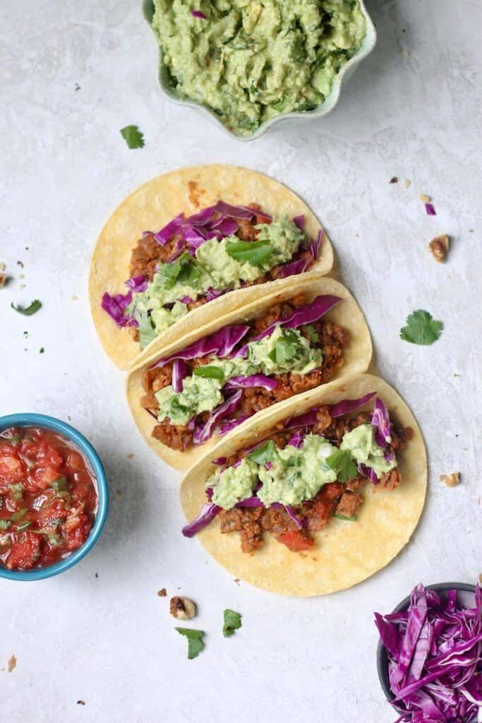 """<p>Instead of ground beef, whip up some savory tacos with mushrooms, chickpeas, walnuts, and taco spice and get ready to have your taste buds blown.<br></p><p><a class=""""link rapid-noclick-resp"""" href=""""https://www.hummusapien.com/vegan-chickpea-walnut-tacos/"""" rel=""""nofollow noopener"""" target=""""_blank"""" data-ylk=""""slk:GET THE RECIPE"""">GET THE RECIPE</a></p><p><em>Per serving: 312 calories, 14 g fat (1 g saturated), 40 g carbs, 10 g sugar, 895 mg sodium, 11 g fiber, 12 g protein</em></p>"""