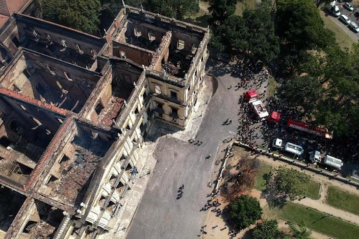 An aerial view shows the aftermath of the huge fire that ripped through Rio de Janeiro's National Museum (AFP Photo/Mauro Pimentel)