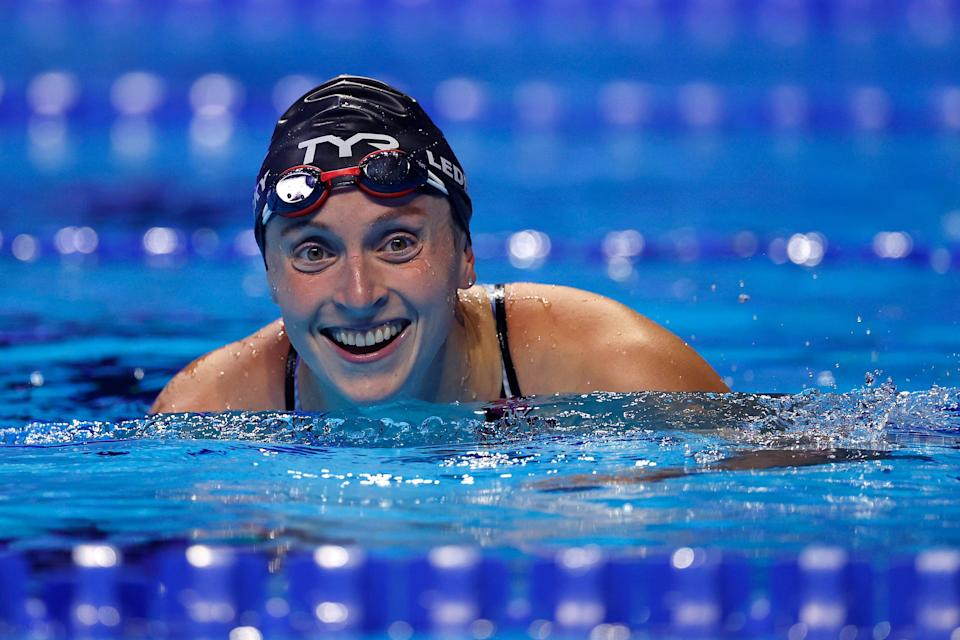 Katie Ledecky reacts after competing in the women's 800-meter freestyle final at the 2021 U.S. Olympic Team Swimming Trials.