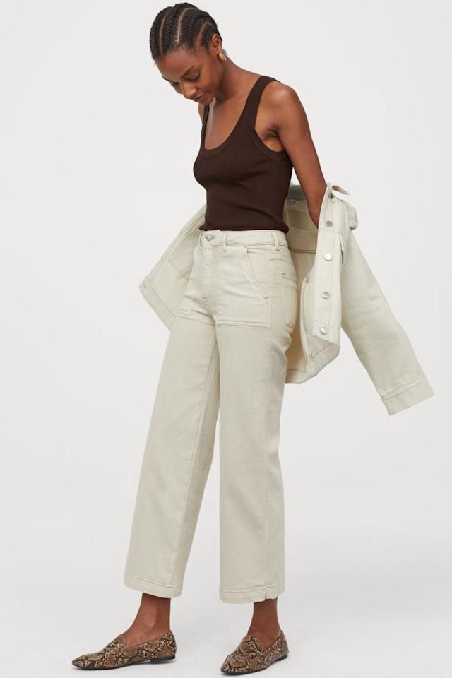 "<p>We love the design of these <a href=""https://www.popsugar.com/buy/HampM-Culotte-High-Ankle-Jeans-483123?p_name=H%26amp%3BM%20Culotte%20High%20Ankle%20Jeans&retailer=www2.hm.com&pid=483123&price=25&evar1=fab%3Aus&evar9=45679915&evar98=https%3A%2F%2Fwww.popsugar.com%2Fphoto-gallery%2F45679915%2Fimage%2F46527167%2FHM-Culotte-High-Ankle-Jeans&list1=shopping%2Ctravel%2Csummer%20travel%2Cspring%20fashion%2Ctravel%20outfits%2Csummer%20fashion&prop13=api&pdata=1"" rel=""nofollow"" data-shoppable-link=""1"" target=""_blank"" class=""ga-track"" data-ga-category=""Related"" data-ga-label=""https://www2.hm.com/en_us/productpage.0801979001.html"" data-ga-action=""In-Line Links"">H&amp;M Culotte High Ankle Jeans</a> ($25).</p>"