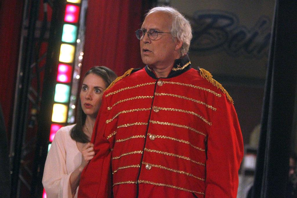 """Alison Brie as Annie and Chevy Chase as Pierce in the """"Community"""" Season 3 episode, """"Regional Holiday Music."""""""
