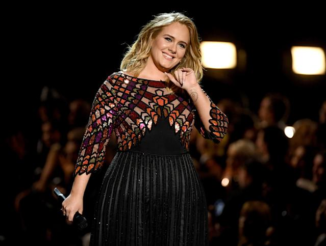 Adele onstage during The 59th GRAMMY Awards at STAPLES Center on February 12, 2017 in Los Angeles, California.